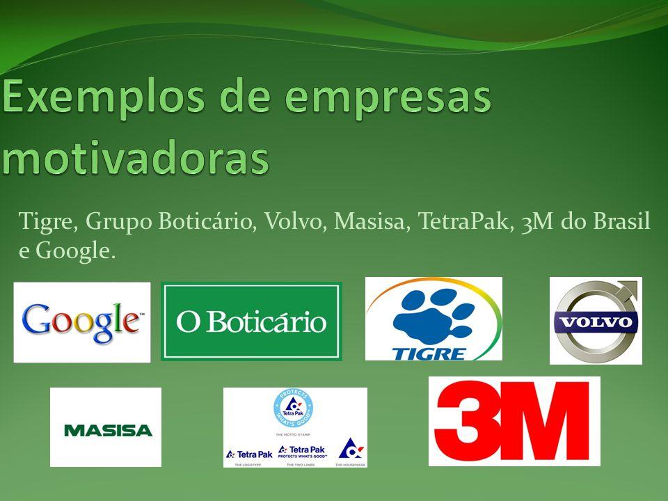 Tigre, Grupo Boticário, Volvo, Masisa, TetraPak, 3M do Brasil e Google.