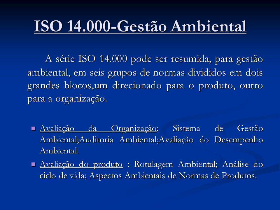 ISO 14.000-Gestão Ambiental A série ISO 14.000 pode ser resumida, para gestão ambiental, em seis grupos de normas divididos em dois grandes blocos,um direcionado para o produto, outro para a organização.