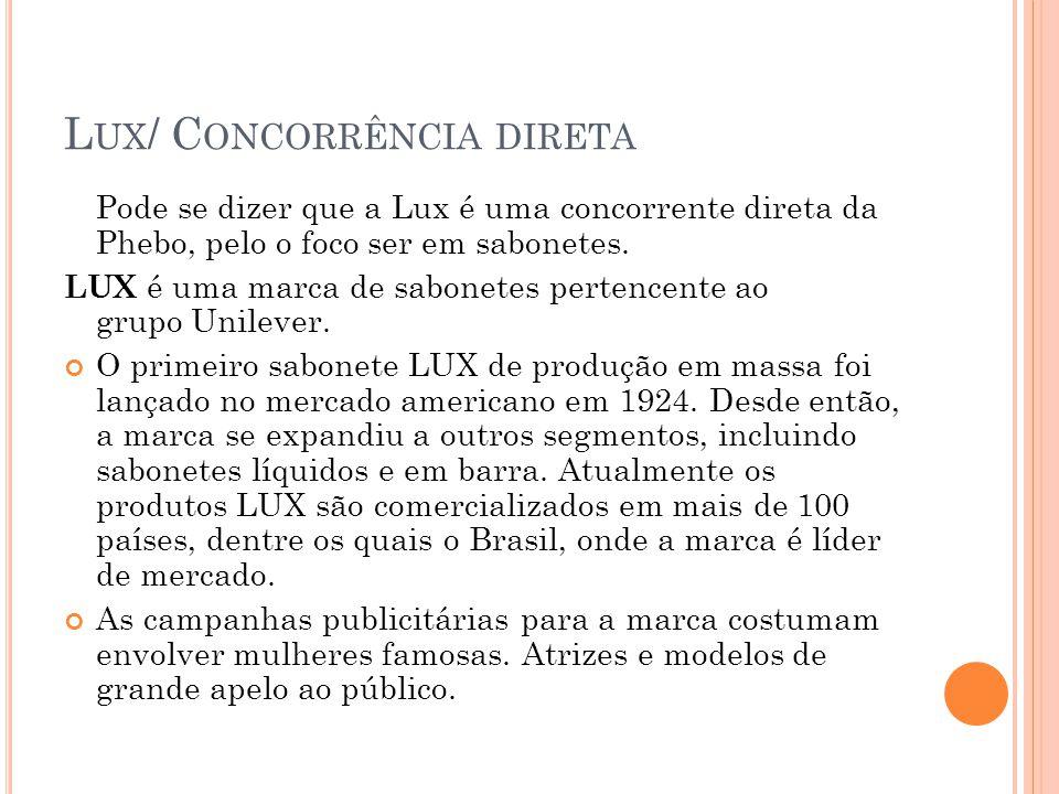 L UX / C ONCORRÊNCIA DIRETA Pode se dizer que a Lux é uma concorrente direta da Phebo, pelo o foco ser em sabonetes. LUX é uma marca de sabonetes pert