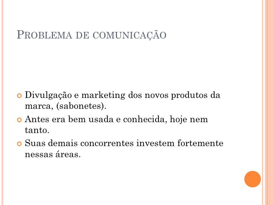 P ROBLEMA DE COMUNICAÇÃO Divulgação e marketing dos novos produtos da marca, (sabonetes). Antes era bem usada e conhecida, hoje nem tanto. Suas demais