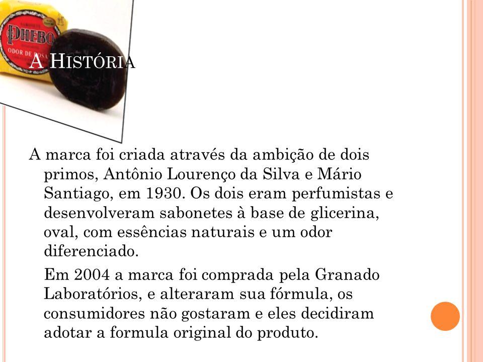 A H ISTÓRIA A marca foi criada através da ambição de dois primos, Antônio Lourenço da Silva e Mário Santiago, em 1930. Os dois eram perfumistas e dese