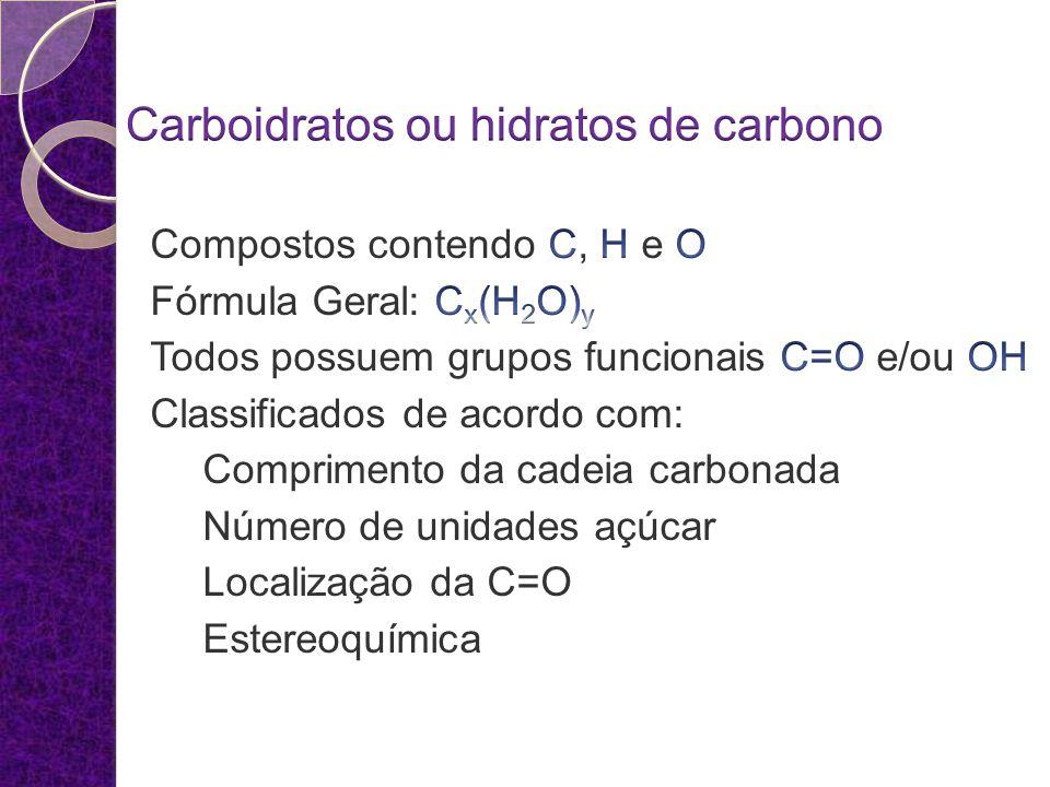 Definição de carboidratos São polihidroxialdeídos, polihidroxiacetonas, polihidroxiálcoois, polihidroxiácidos, e seus derivados simples, e polímeros destes compostos unidos por ligações hemiacétalicas.