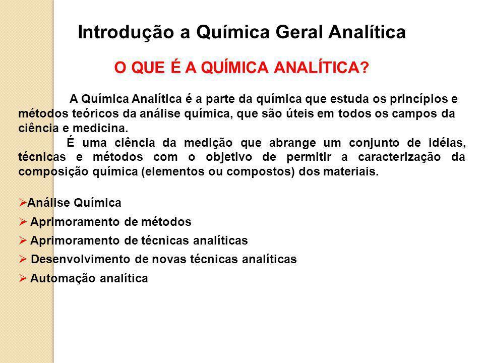 Introdução a Química Geral Analítica O QUE É A QUÍMICA ANALÍTICA.
