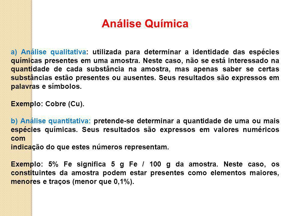 Análise Química a) Análise qualitativa: utilizada para determinar a identidade das espécies químicas presentes em uma amostra.