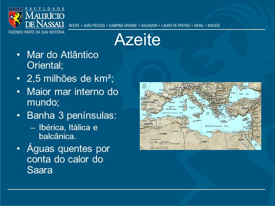 Azeite Mar do Atlântico Oriental; 2,5 milhões de km²; Maior mar interno do mundo; Banha 3 penínsulas: –Ibérica, Itálica e balcânica.