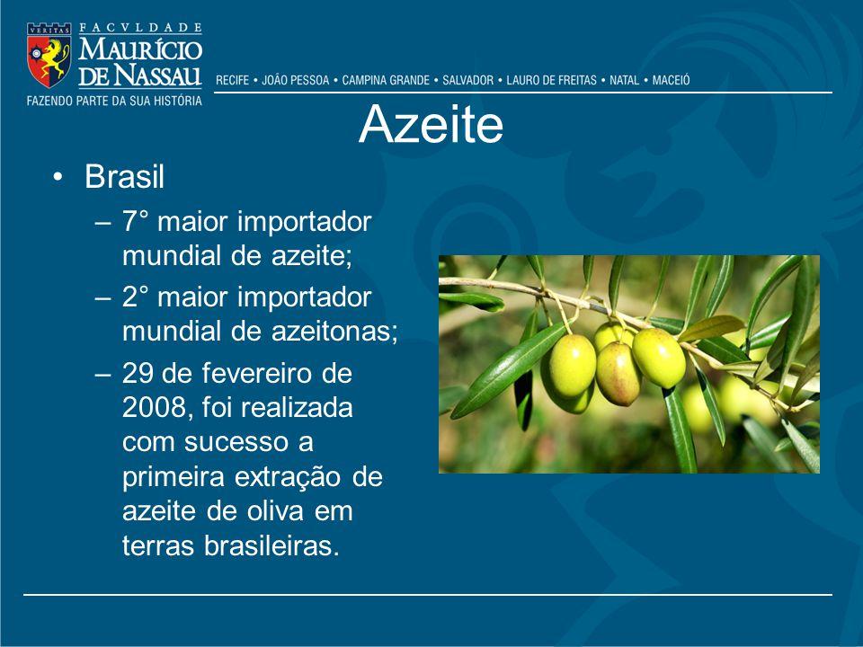 Azeite Brasil –7° maior importador mundial de azeite; –2° maior importador mundial de azeitonas; –29 de fevereiro de 2008, foi realizada com sucesso a primeira extração de azeite de oliva em terras brasileiras.