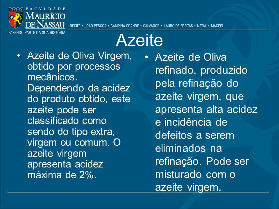 Azeite Azeite de Oliva Virgem, obtido por processos mecânicos.