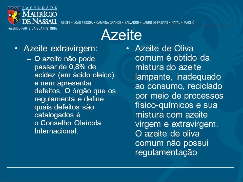 Azeite Azeite extravirgem: –O azeite não pode passar de 0,8% de acidez (em ácido oleico) e nem apresentar defeitos.