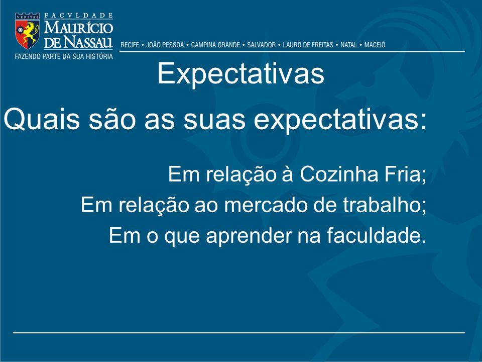 Expectativas Quais são as suas expectativas: Em relação à Cozinha Fria; Em relação ao mercado de trabalho; Em o que aprender na faculdade.