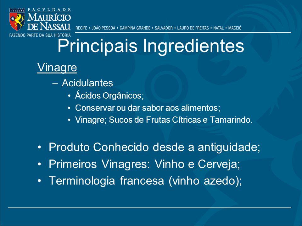 Principais Ingredientes Vinagre –Acidulantes Ácidos Orgânicos; Conservar ou dar sabor aos alimentos; Vinagre; Sucos de Frutas Cítricas e Tamarindo.