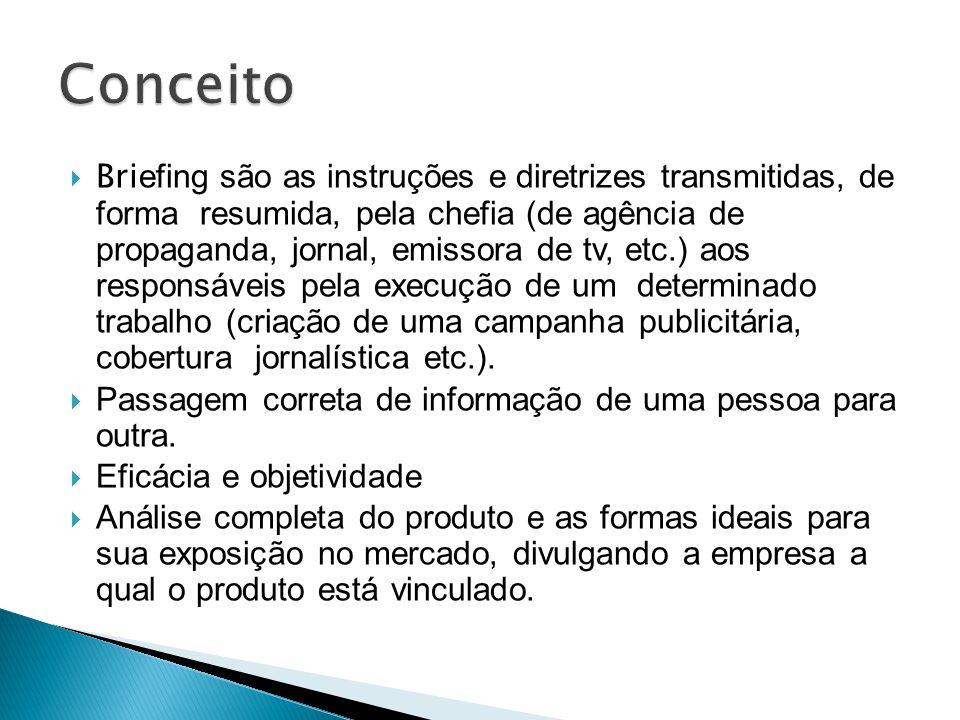 Bri efing são as instruções e diretrizes transmitidas, de forma resumida, pela chefia (de agência de propaganda, jornal, emissora de tv, etc.) aos res