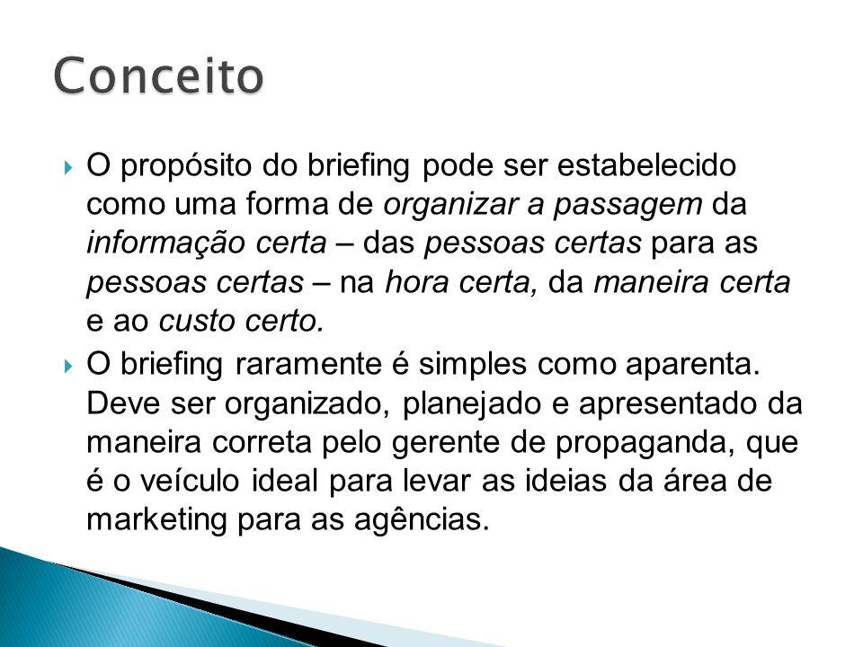 O propósito do briefing pode ser estabelecido como uma forma de organizar a passagem da informação certa – das pessoas certas para as pessoas certas –