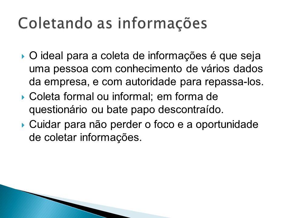 O ideal para a coleta de informações é que seja uma pessoa com conhecimento de vários dados da empresa, e com autoridade para repassa-los. Coleta form