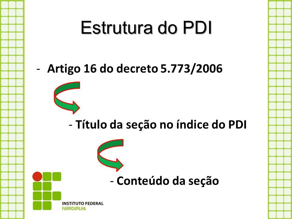 Estrutura do PDI -Artigo 16 do decreto 5.773/2006 - Título da seção no índice do PDI - Conteúdo da seção