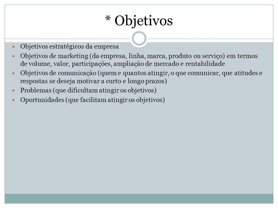 * Objetivos Objetivos estratégicos da empresa Objetivos de marketing (da empresa, linha, marca, produto ou serviço) em termos de volume, valor, partic