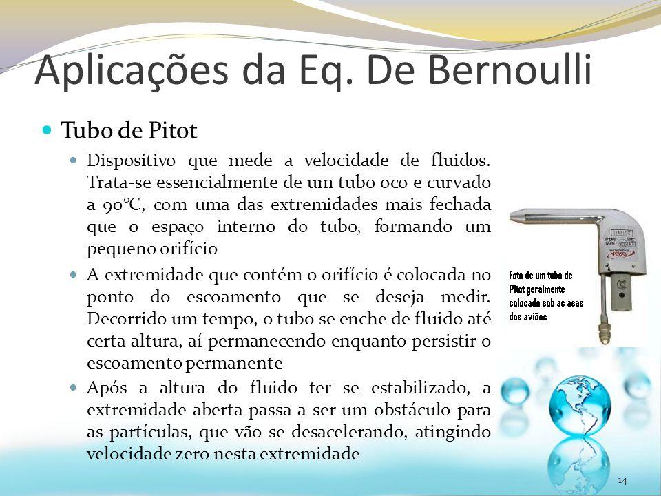 Aplicações da Eq. De Bernoulli Tubo de Pitot Dispositivo que mede a velocidade de fluidos. Trata-se essencialmente de um tubo oco e curvado a 90°C, co