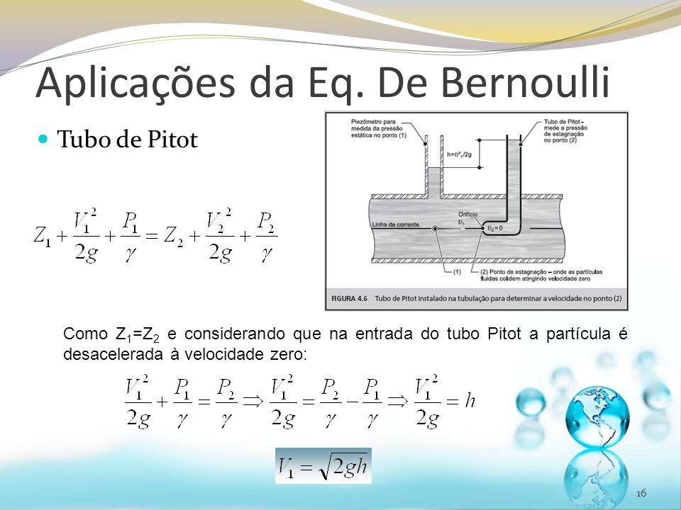 Aplicações da Eq. De Bernoulli Tubo de Pitot 16 Como Z 1 =Z 2 e considerando que na entrada do tubo Pitot a partícula é desacelerada à velocidade zero