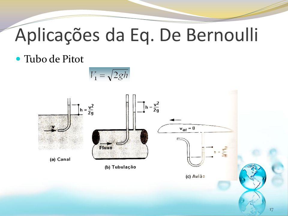 Aplicações da Eq. De Bernoulli Tubo de Pitot 17