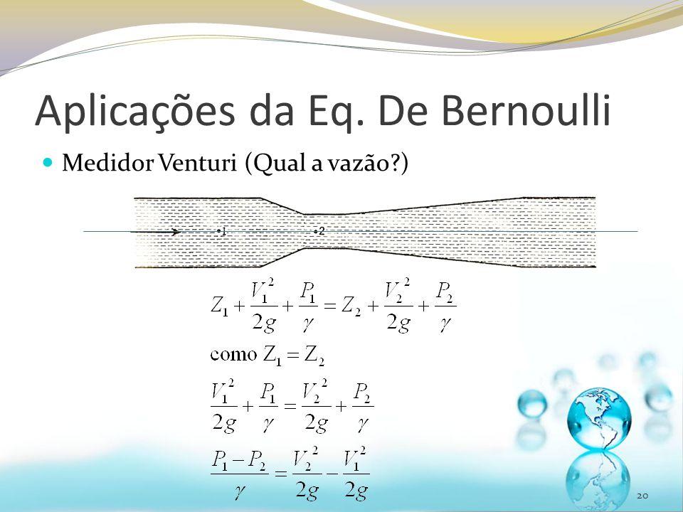 Aplicações da Eq. De Bernoulli Medidor Venturi (Qual a vazão?) 20