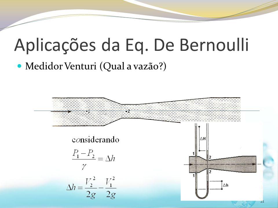 Aplicações da Eq. De Bernoulli Medidor Venturi (Qual a vazão?) 21