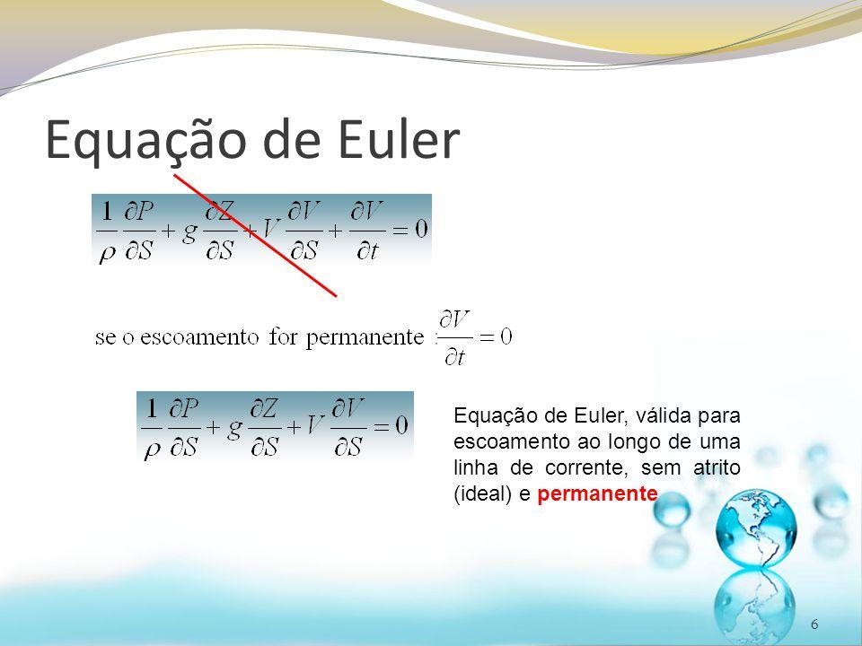 6 Equação de Euler, válida para escoamento ao longo de uma linha de corrente, sem atrito (ideal) e permanente