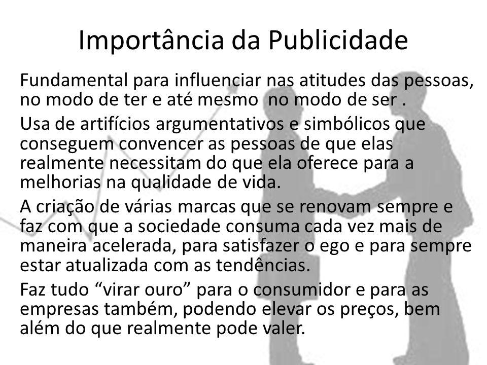 Importância da Publicidade Fundamental para influenciar nas atitudes das pessoas, no modo de ter e até mesmo no modo de ser.