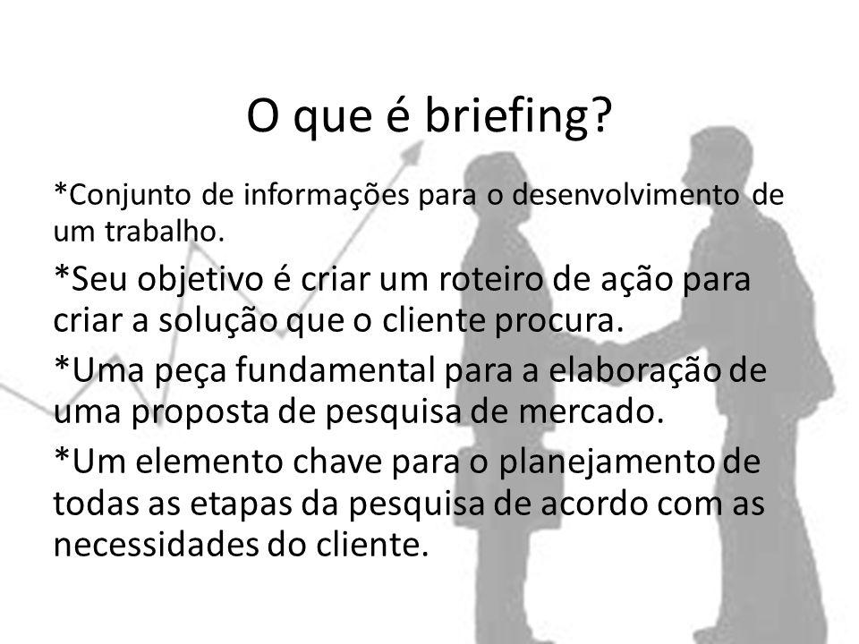 O que é briefing.*Conjunto de informações para o desenvolvimento de um trabalho.