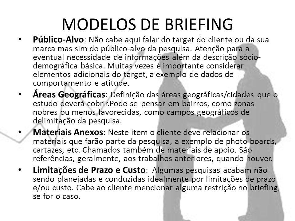 MODELOS DE BRIEFING Público-Alvo : Não cabe aqui falar do target do cliente ou da sua marca mas sim do público-alvo da pesquisa.
