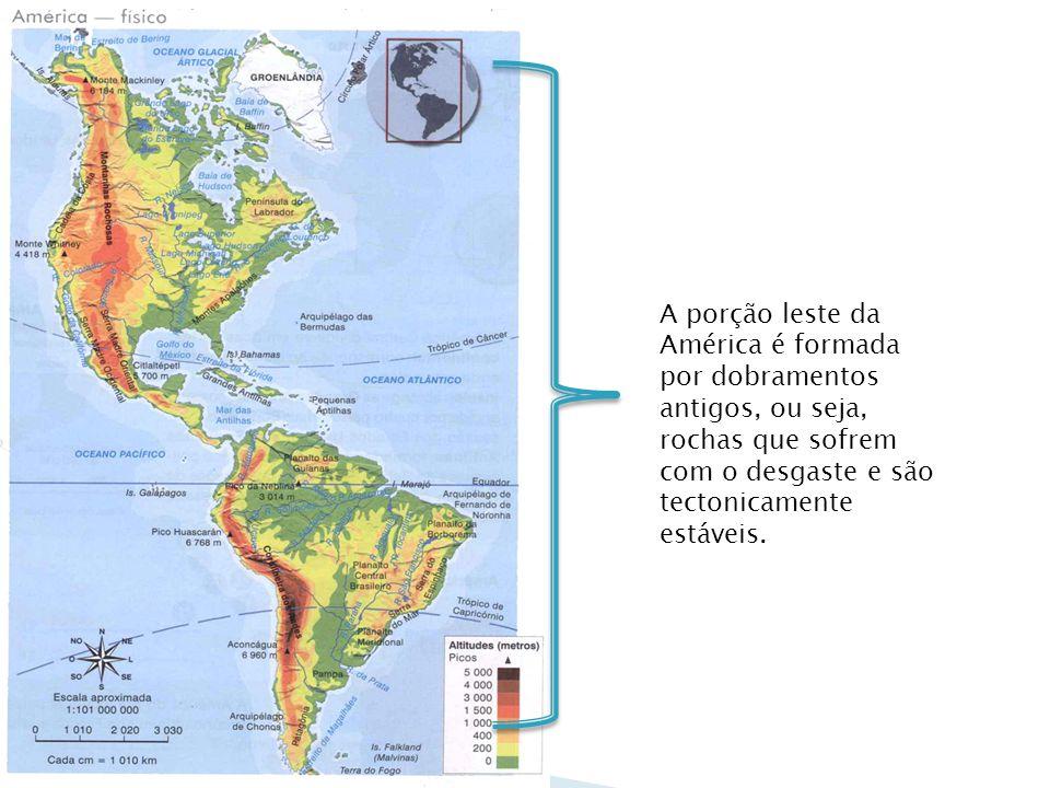 A porção leste da América é formada por dobramentos antigos, ou seja, rochas que sofrem com o desgaste e são tectonicamente estáveis.