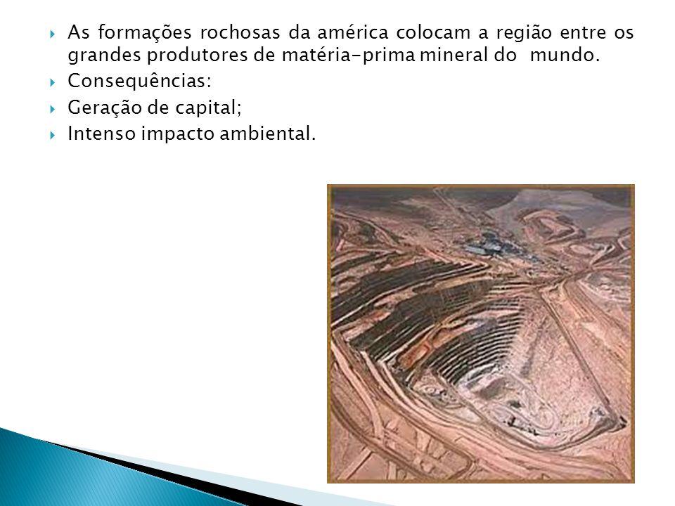 As formações rochosas da américa colocam a região entre os grandes produtores de matéria-prima mineral do mundo. Consequências: Geração de capital; In