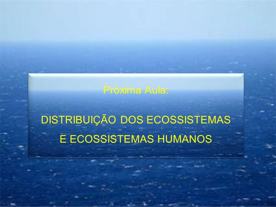 Próxima Aula: DISTRIBUIÇÃO DOS ECOSSISTEMAS E ECOSSISTEMAS HUMANOS Próxima Aula: DISTRIBUIÇÃO DOS ECOSSISTEMAS E ECOSSISTEMAS HUMANOS