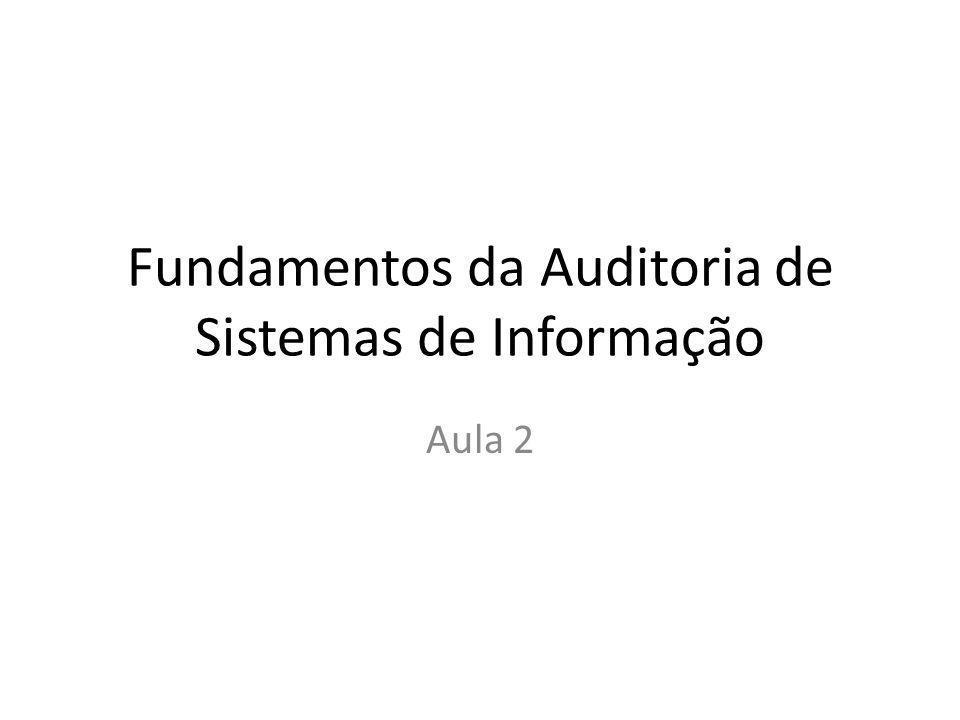 Fundamentos da Auditoria de Sistemas de Informação Aula 2