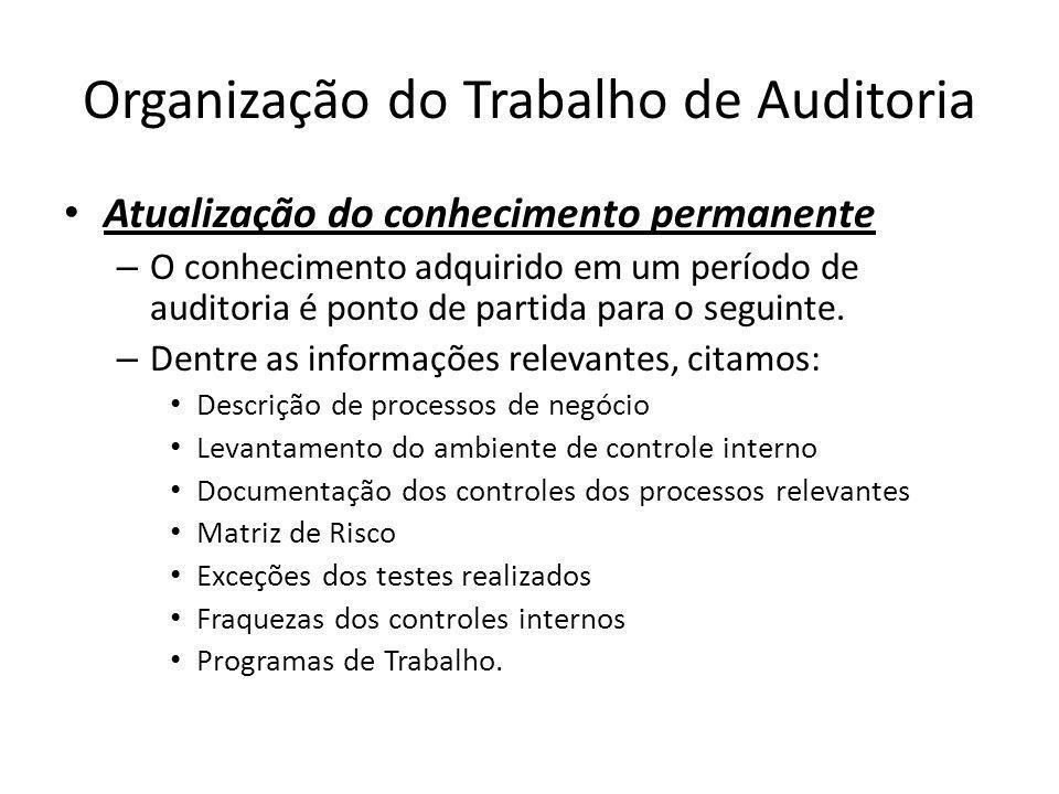 Organização do Trabalho de Auditoria Atualização do conhecimento permanente – O conhecimento adquirido em um período de auditoria é ponto de partida p