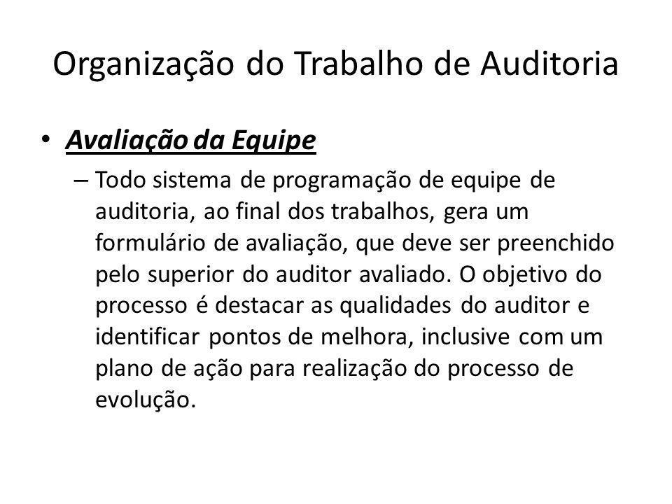 Organização do Trabalho de Auditoria Avaliação da Equipe – Todo sistema de programação de equipe de auditoria, ao final dos trabalhos, gera um formulá