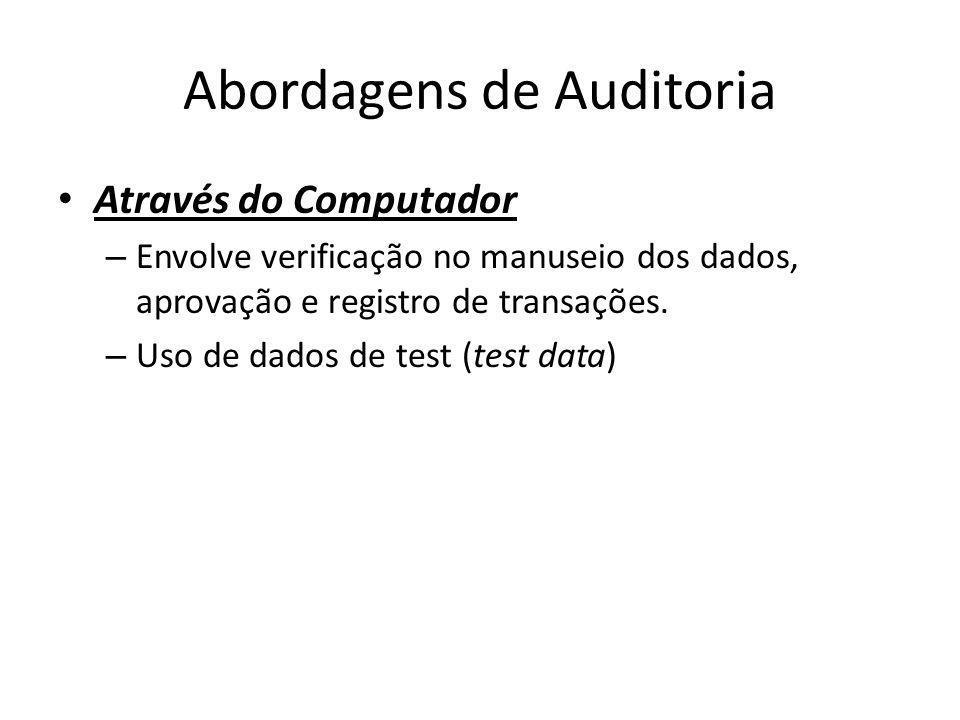Abordagens de Auditoria Através do Computador – Envolve verificação no manuseio dos dados, aprovação e registro de transações. – Uso de dados de test