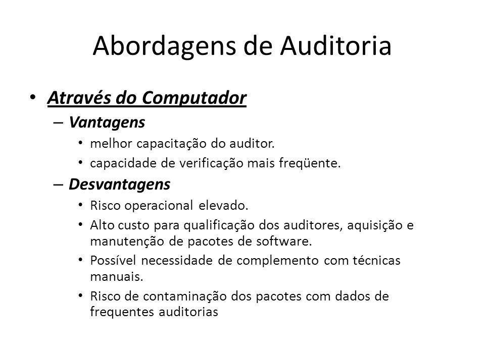 Abordagens de Auditoria Através do Computador – Vantagens melhor capacitação do auditor. capacidade de verificação mais freqüente. – Desvantagens Risc