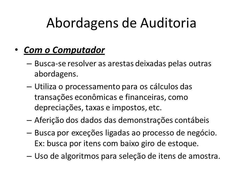 Abordagens de Auditoria Com o Computador – Busca-se resolver as arestas deixadas pelas outras abordagens. – Utiliza o processamento para os cálculos d
