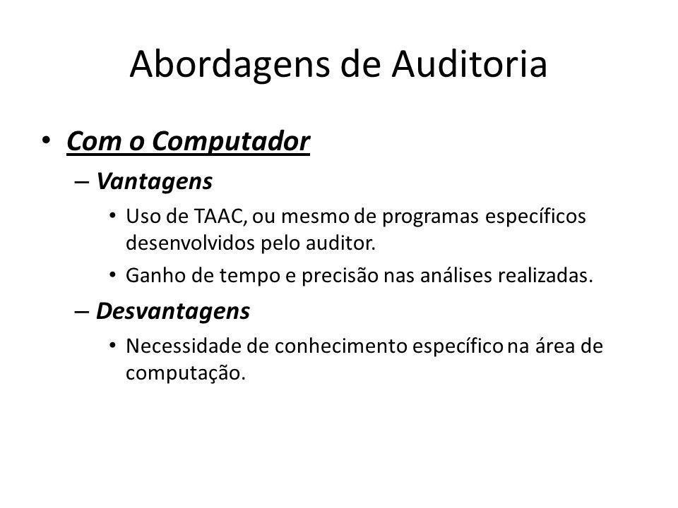 Abordagens de Auditoria Com o Computador – Vantagens Uso de TAAC, ou mesmo de programas específicos desenvolvidos pelo auditor. Ganho de tempo e preci