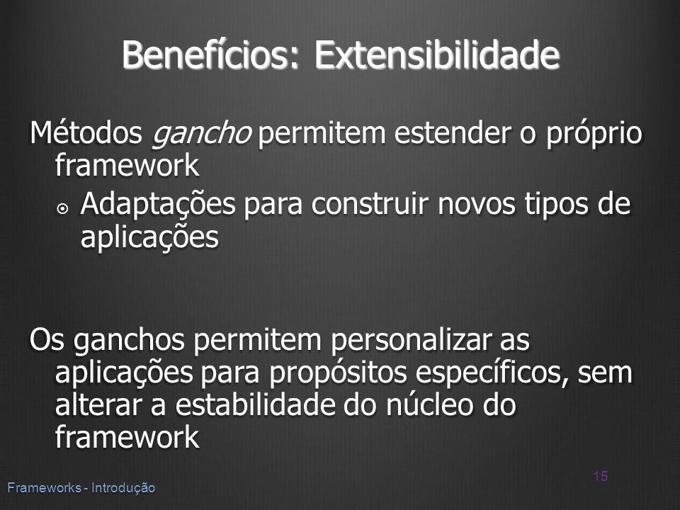 Benefícios: Extensibilidade Métodos gancho permitem estender o próprio framework Adaptações para construir novos tipos de aplicações Adaptações para c