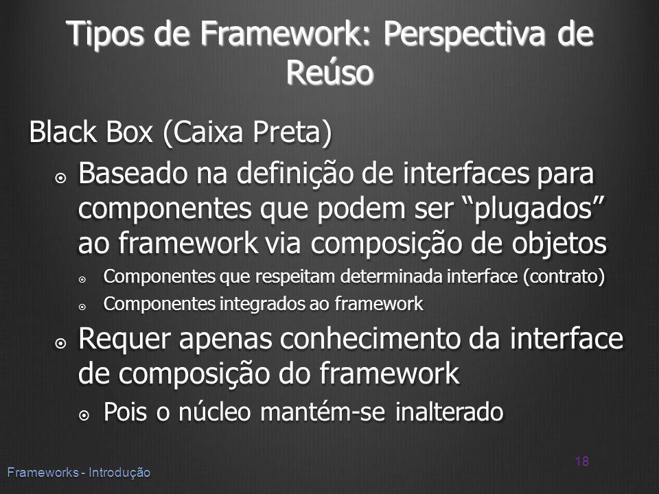 Tipos de Framework: Perspectiva de Reúso Black Box (Caixa Preta) Baseado na definição de interfaces para componentes que podem ser plugados ao framewo