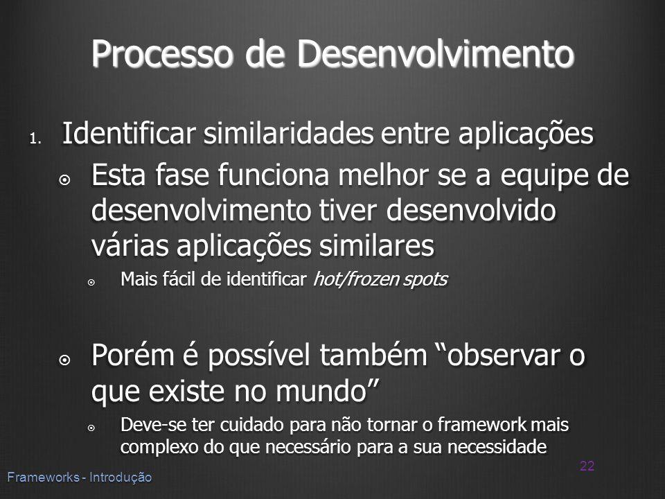 Processo de Desenvolvimento 1. Identificar similaridades entre aplicações Esta fase funciona melhor se a equipe de desenvolvimento tiver desenvolvido