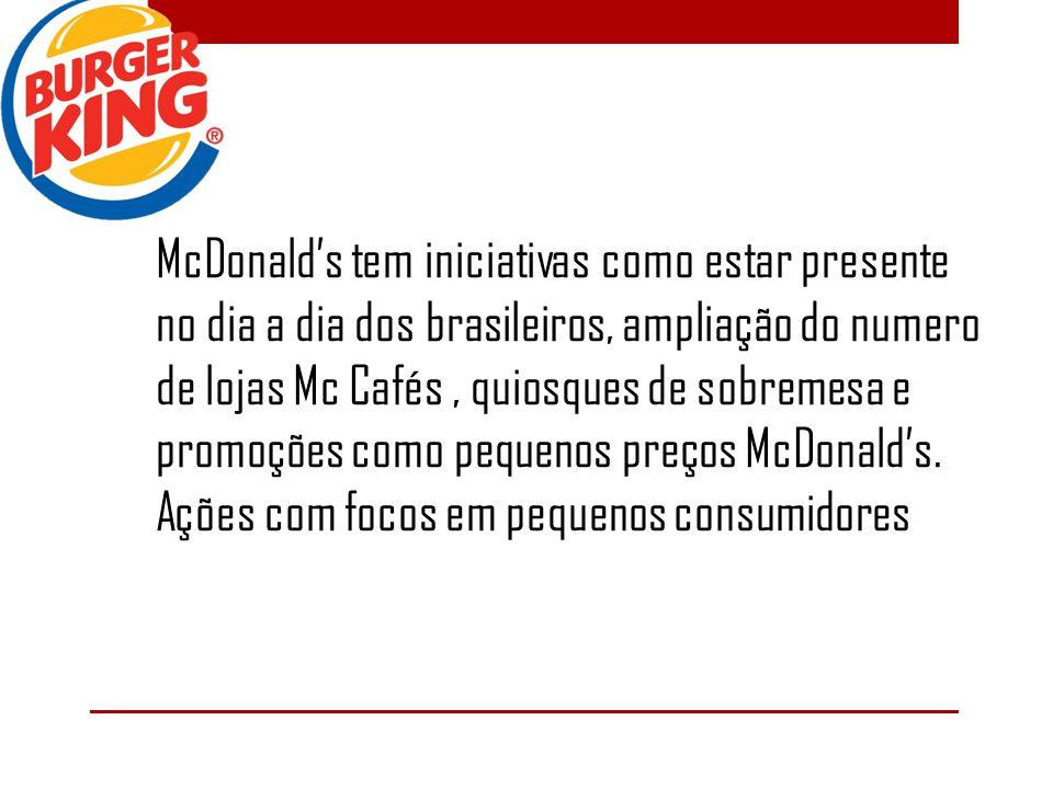 McDonalds tem iniciativas como estar presente no dia a dia dos brasileiros, ampliação do numero de lojas Mc Cafés, quiosques de sobremesa e promoções como pequenos preços McDonalds.