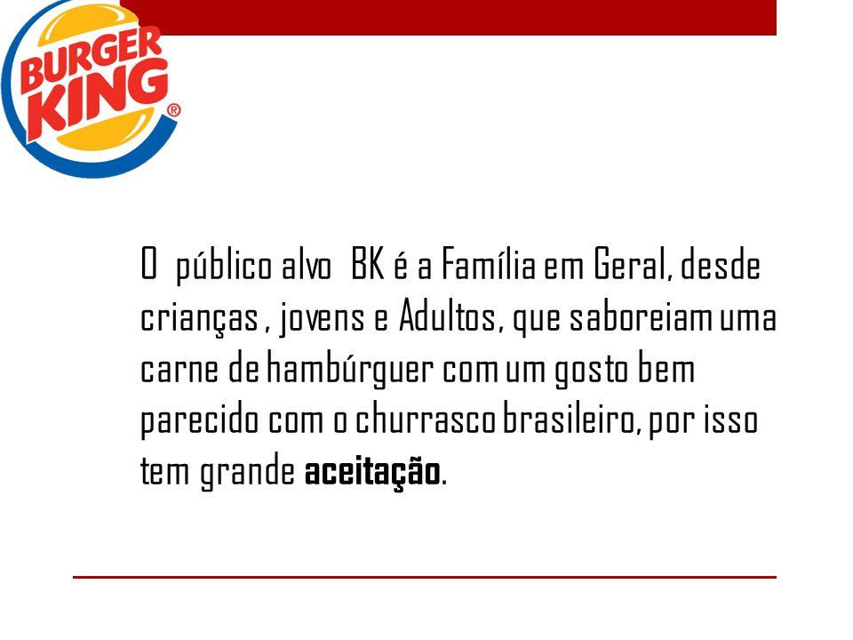 O público alvo BK é a Família em Geral, desde crianças, jovens e Adultos, que saboreiam uma carne de hambúrguer com um gosto bem parecido com o churrasco brasileiro, por isso tem grande aceitação.