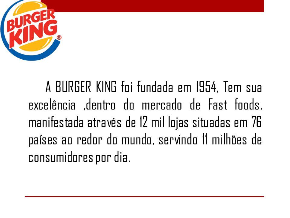 A BURGER KING foi fundada em 1954, Tem sua excelência,dentro do mercado de Fast foods, manifestada através de 12 mil lojas situadas em 76 países ao redor do mundo, servindo 11 milhões de consumidores por dia.