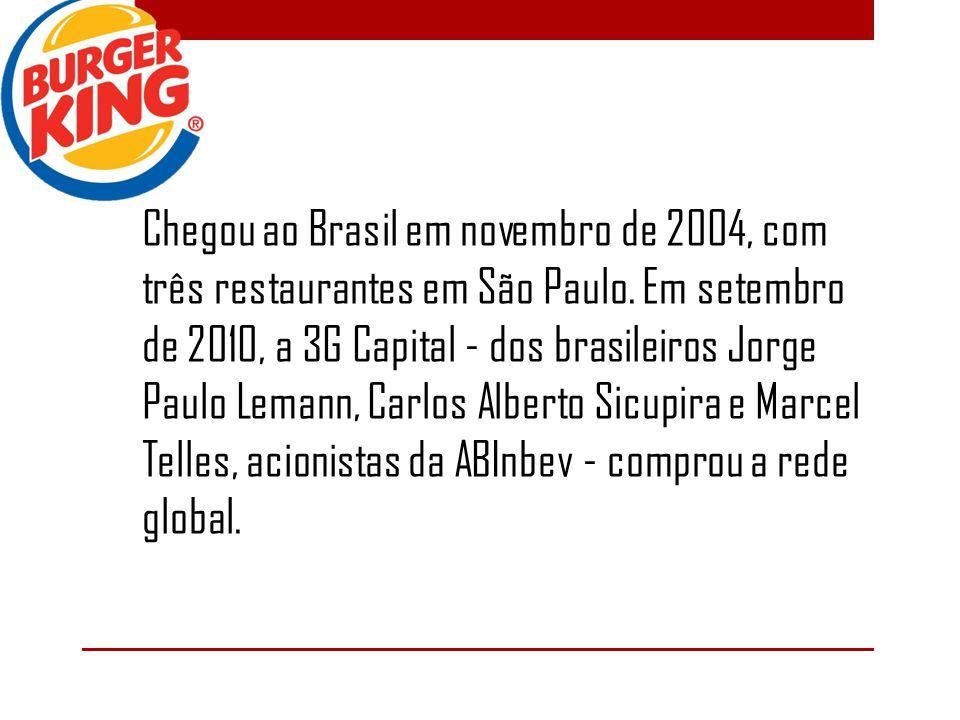Chegou ao Brasil em novembro de 2004, com três restaurantes em São Paulo. Em setembro de 2010, a 3G Capital - dos brasileiros Jorge Paulo Lemann, Carl