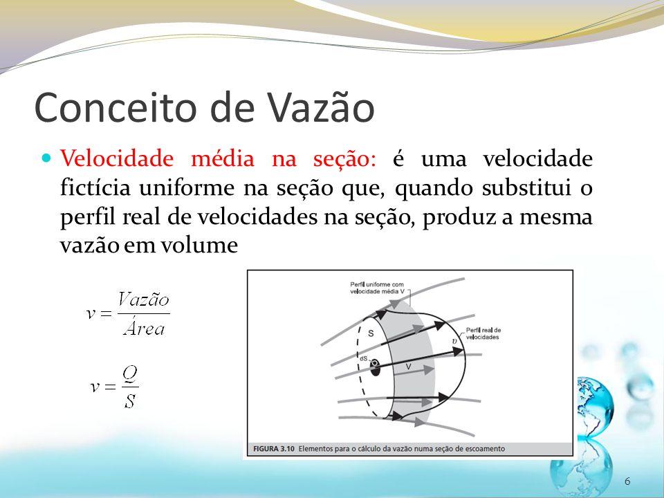 Conceito de Vazão Velocidade média na seção: é uma velocidade fictícia uniforme na seção que, quando substitui o perfil real de velocidades na seção,
