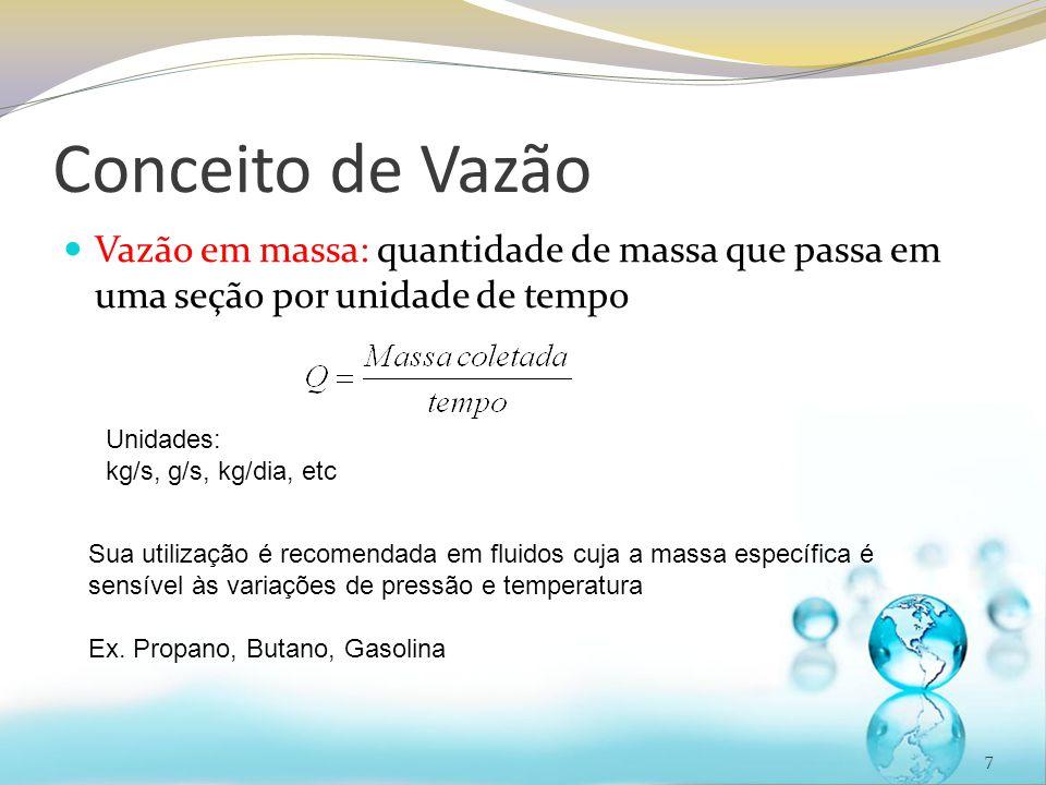 Conceito de Vazão Vazão em massa: quantidade de massa que passa em uma seção por unidade de tempo 7 Unidades: kg/s, g/s, kg/dia, etc Sua utilização é