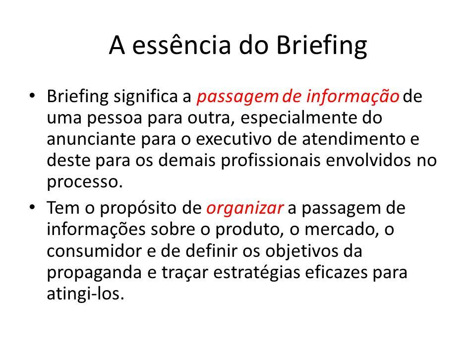 A essência do Briefing Briefing significa a passagem de informação de uma pessoa para outra, especialmente do anunciante para o executivo de atendimen
