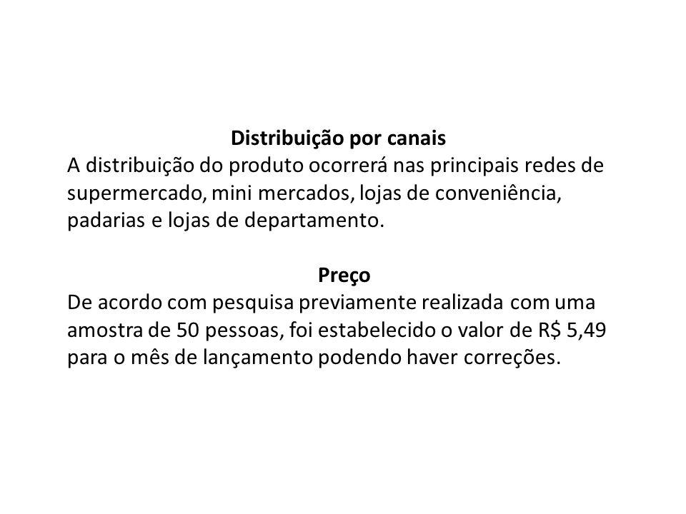 Distribuição por canais A distribuição do produto ocorrerá nas principais redes de supermercado, mini mercados, lojas de conveniência, padarias e loja