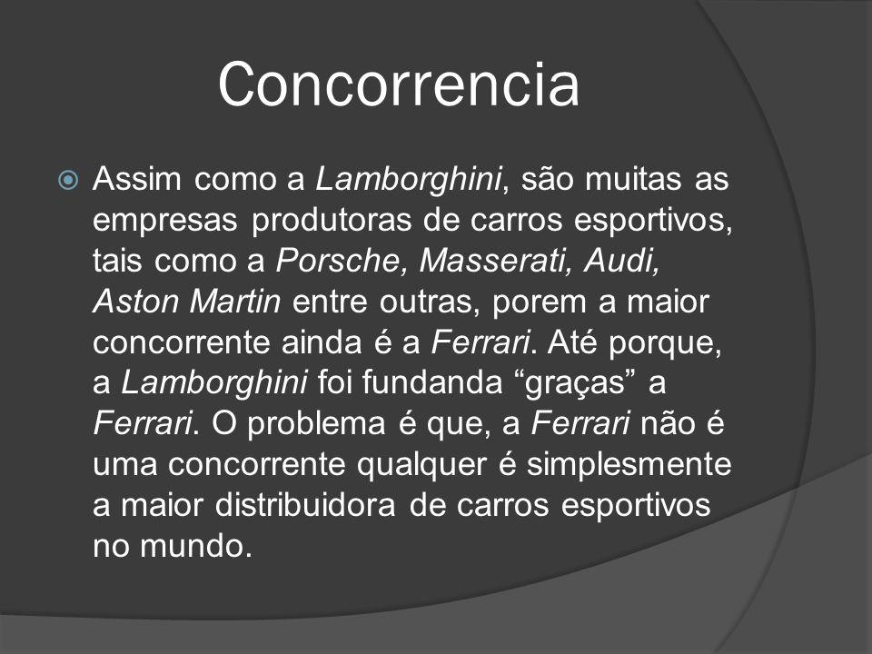 Concorrencia Assim como a Lamborghini, são muitas as empresas produtoras de carros esportivos, tais como a Porsche, Masserati, Audi, Aston Martin entr